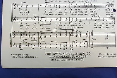 Vintage sheet music Welsh O Ddydd I Ddydd FROM DAY TO DAY church choir song SA